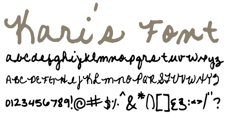 click to download Kari's Font