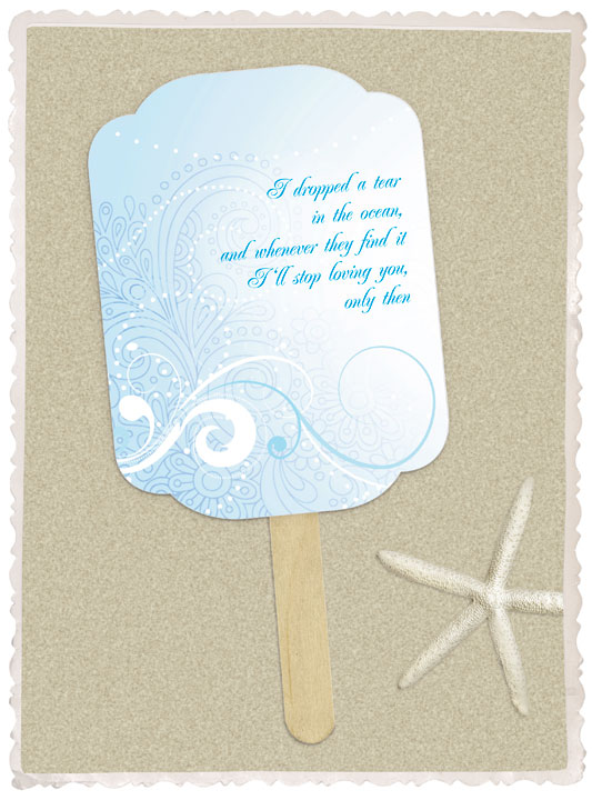 I do it yourself diy project paddle fan diy paddle fans are the perfect addition to a beach wedding and just the project for keeping your wedding guests cool this summer solutioingenieria Images