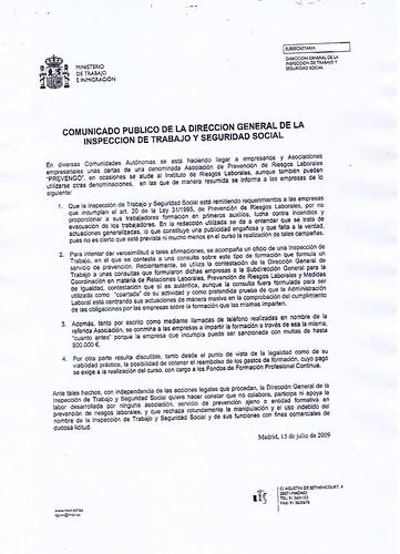 Espainiako Gobernutik helarazitako agiria, iruzurra salatzen