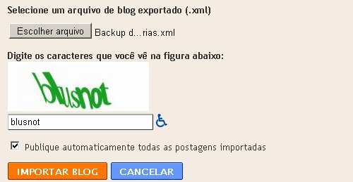 Importar blog no Blogger.