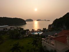 Sunrise over our resort on Cat Ba Island