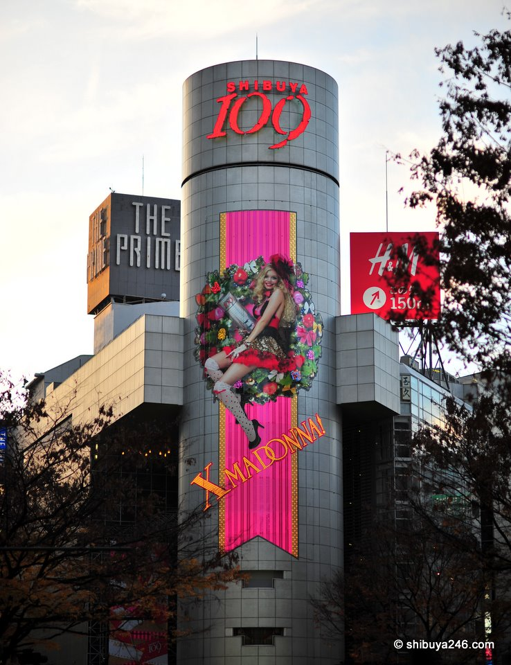 X Madonna lighting up the Shibuya 109 tower