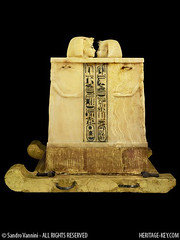 Side View of King Tut's Canopic Chest (Sandro Vannini) Tags: art photography egypt viscera tutankhamun mummification alabaster beliefs egyptians egyptianmuseum cairomuseum kv62 canopicjars heritagekey sandrovannini canopicchest humanheadedstoppers