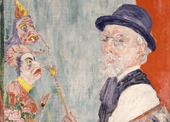 Self-Portrait with Masks  1937  James Ensor, Belgian, 1860 - 1949. Philadelphia Museum of Art (renzodionigi) Tags: portrait painting design engraving autoritratto ritratto arts fine selfportrait