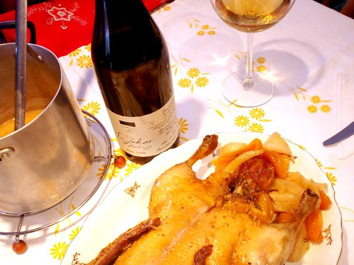 2008 Clai Sv. Jakov malvazija and roasted duck stuffed with fruits