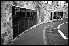 Reflection x4 (tany_kely) Tags: street leica urban blackandwhite bw woman white black france reflection building lines noir noiretblanc geometry femme nb reflet lille rue nordpasdecalais blanc gomtrie nord lignes immeuble urbain m9