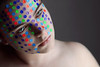 Among the Colours (Lou Bert) Tags: blue red portrait color green girl make up self rainbow purple stickers makeup spots