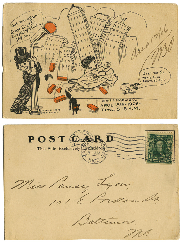 B. K. Leach_San Francisco earthquake postcard_tatteredandlost