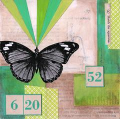experiment 23 (jodie hurt) Tags: green art collage butterfly mixedmedia numbers etsy vintageephemera jodiehurt cradledpanel