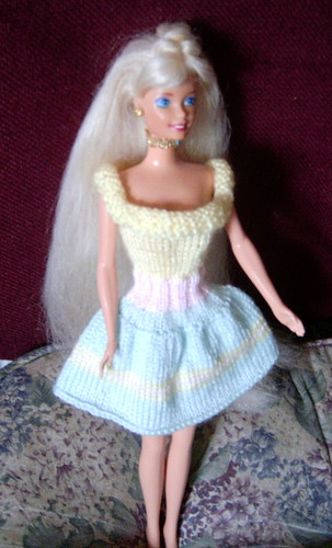 Handknit Barbie Dress on Barbie