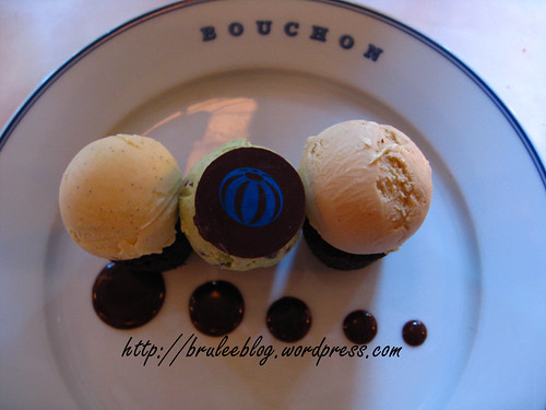 Bouchon - Bouchons and ice cream overhead shot