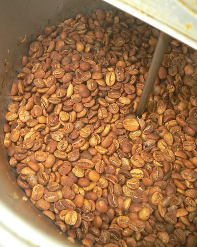 Roasting Coffee - Halfway Done