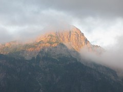 Morning sun on Mt. Persis from Hwy. 2