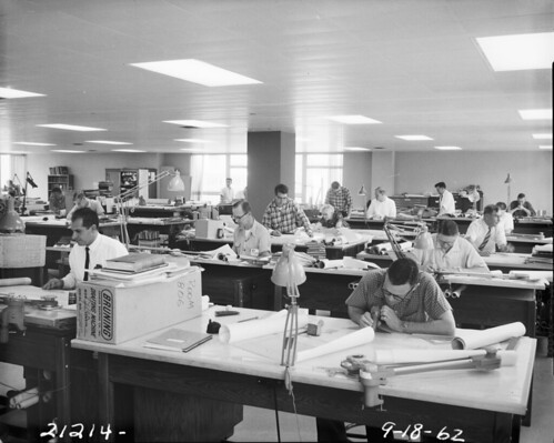 Engineering drafting room, 1962