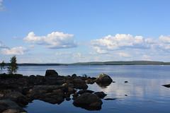 (eeviko) Tags: blue trees summer sky cloud lake tree water rock stone clouds suomi finland landscape rocks stones finnish 2009 pohjoiskarjala nurmes pielinen northkarelia easternfinland itsuomi kynsiniemi