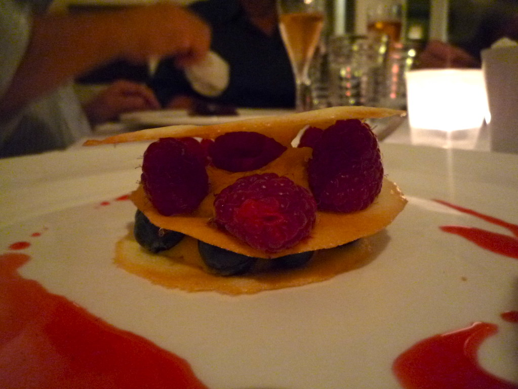 White chocolate mousse, tuille stack, blueberries, raspberries
