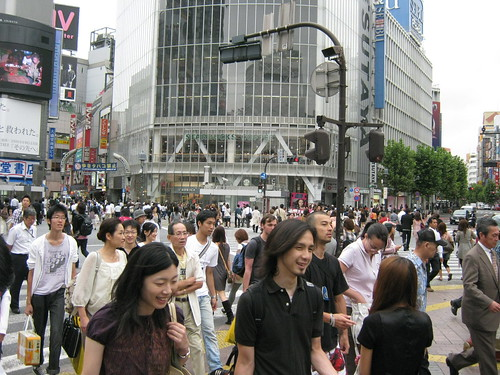 The famous and super-busy scramble crosswalk at Shibuya.