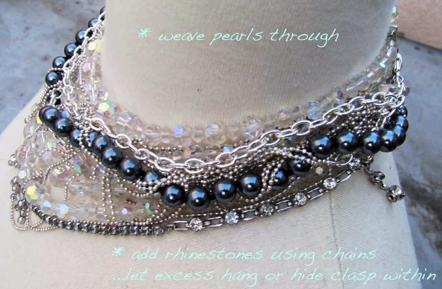 DIY-Tom-Binns-rhinestone-chains-pearl-chunky-choker-collar-necklace-7