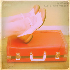 Bench Monday | Red Suitcase Edition (daisy plus three) Tags: vacation woman texture feet shoes thegogos redsuitcase fluevogs benchmonday bylesbrumes 30songs30days