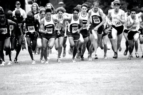 The Men's Cross Country team jumps out to a quick start but they were unable to finish high in Oregon against nationally ranked competition.  Photo courtesy of Nicole Bowler