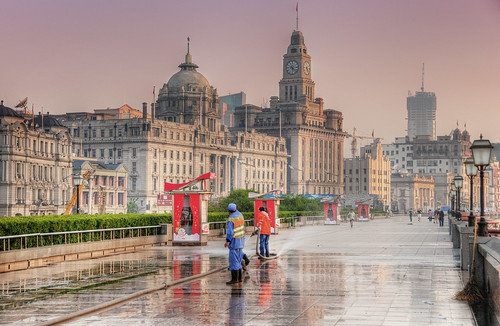 The Bund, Shanghai - early morning workers