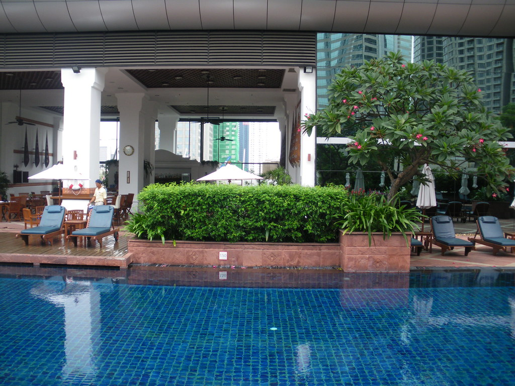 The Plaza Athenee, A Royal Meridien Hotel in Bangkok - One of the best in the City! The pool is one of the most romantic in Bangkok! ( July 2009 ).