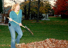 Cathie in the leaves