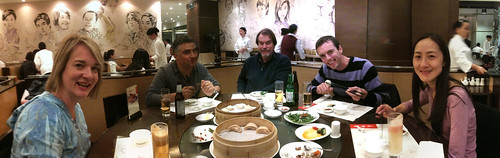 Enjoying soup dumplings in Shanghai (panorama)