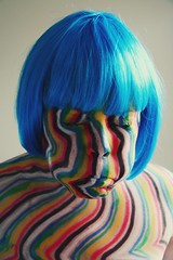 Blown up. (alibubba) Tags: selfportrait self portrait selfie sp 365days emulation myfaceismycanvas faceart stripes wig blue rainbow goofy silly tom brody