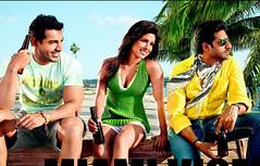 [Poster for Dostana with Dostana, Tarun Mansukhani, John Abraham, Priyanka Chopra, Abhishek Bachchan]