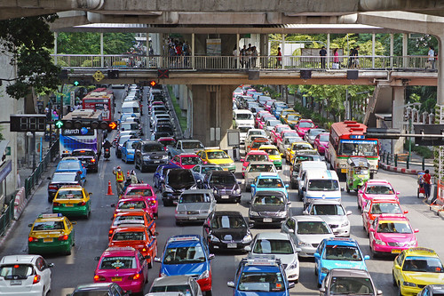 Traffic jam next to Siam Paragon in Bangkok