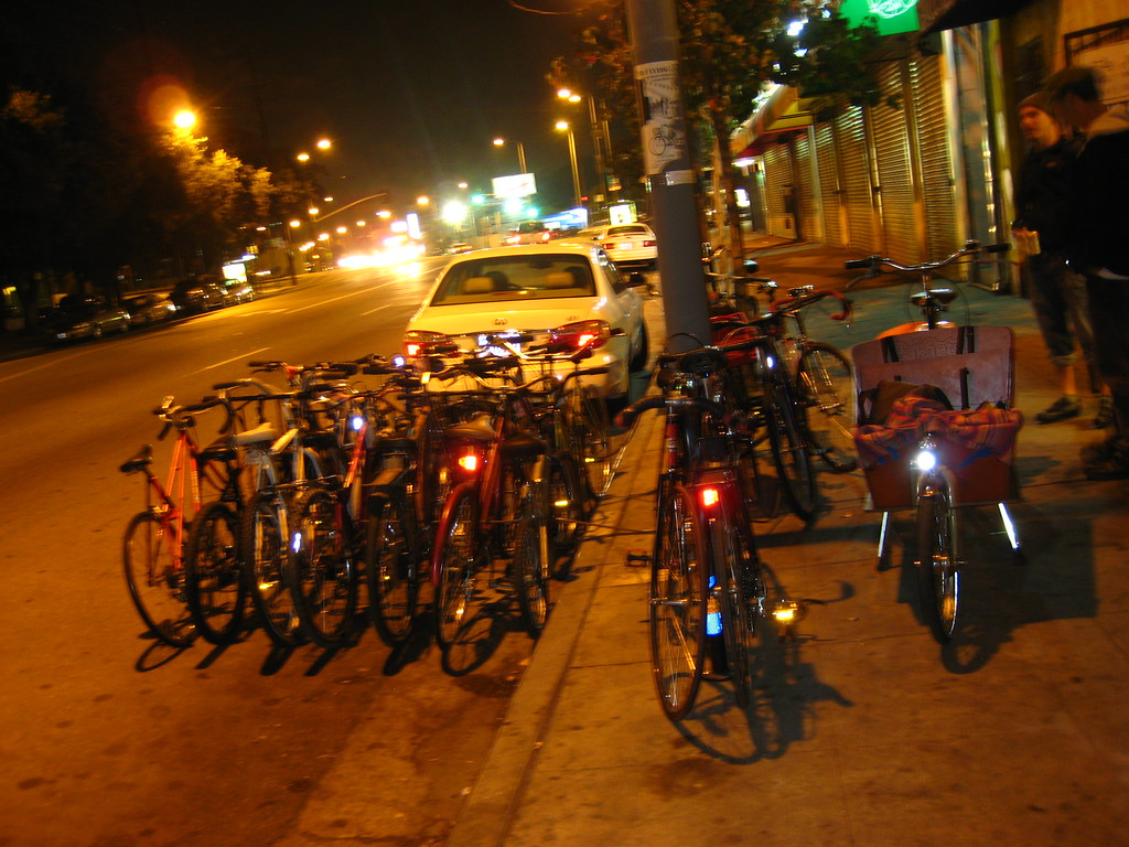 Bike Parking Corral in front of the Bike Oven and Flying Pigeon LA.