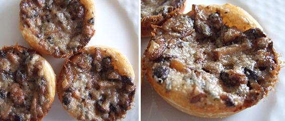 Miniatuew Mushroom Gorgonzola Tarts