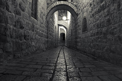 Out of My Depth (iGabi~) Tags: white black stone dark israel alley jerusalem oldcity leadingline