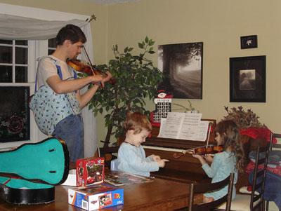 family violin practice