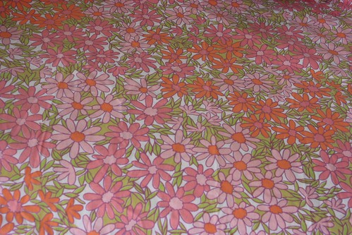Bright & Pale Pink & Orange Daisy Twin Flat Sheet Vintage