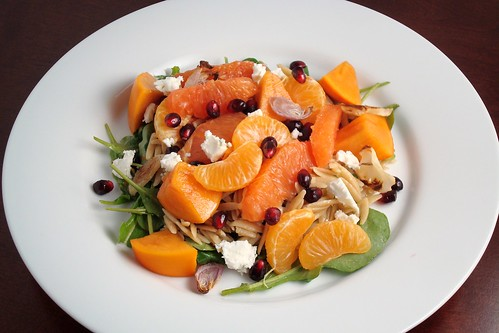 Winter Fruit Salad with Whole Wheat Orzo and Arugula (like a lot)