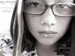 Zoe (JAMAKEA) Tags: zoe easter glasses kid serious shorthair freckles tween frown browneyes huntingtonbeach younggirl 10yearold childportrait hannahmontana kidwhowearsglasses