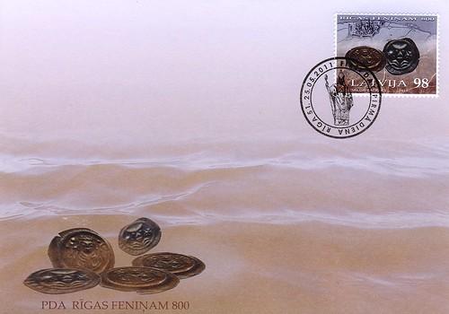 "Pirmās dienas aploksne pastmarkai ""Rīgas feniņam - 800"""