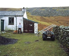 009 (M.irwin) Tags: portrait england dog man wet grass landscape lakes cumbria boggy bothy bothies mosedalecottage