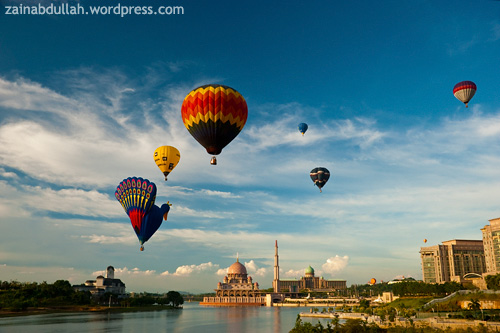 Hot air balloons flying over Putrajaya