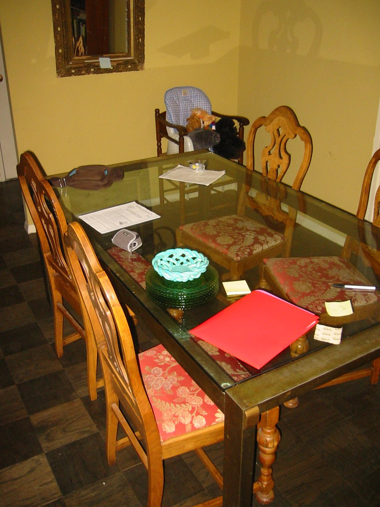 Glass dining table, 5 chairs