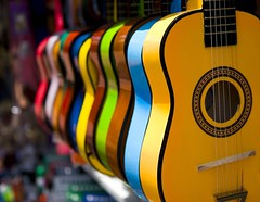 The Color of Music (Nicole') Tags: california ca wood blue day2 red orange brown white color green yellow guitar instrument strings littletokyo