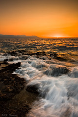 My leg got wet!! (DA.S.) Tags: sunset sea seascape water rocks waves waterscape sigma1020 leegndfilters