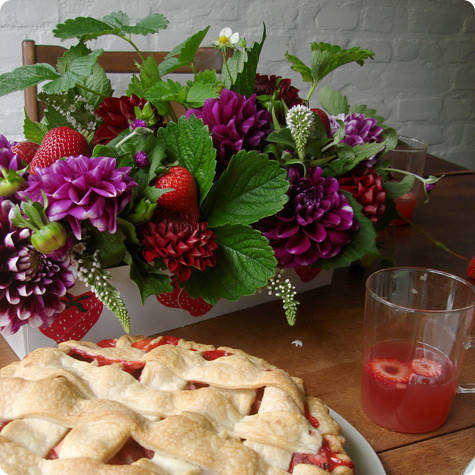 flowers and pie