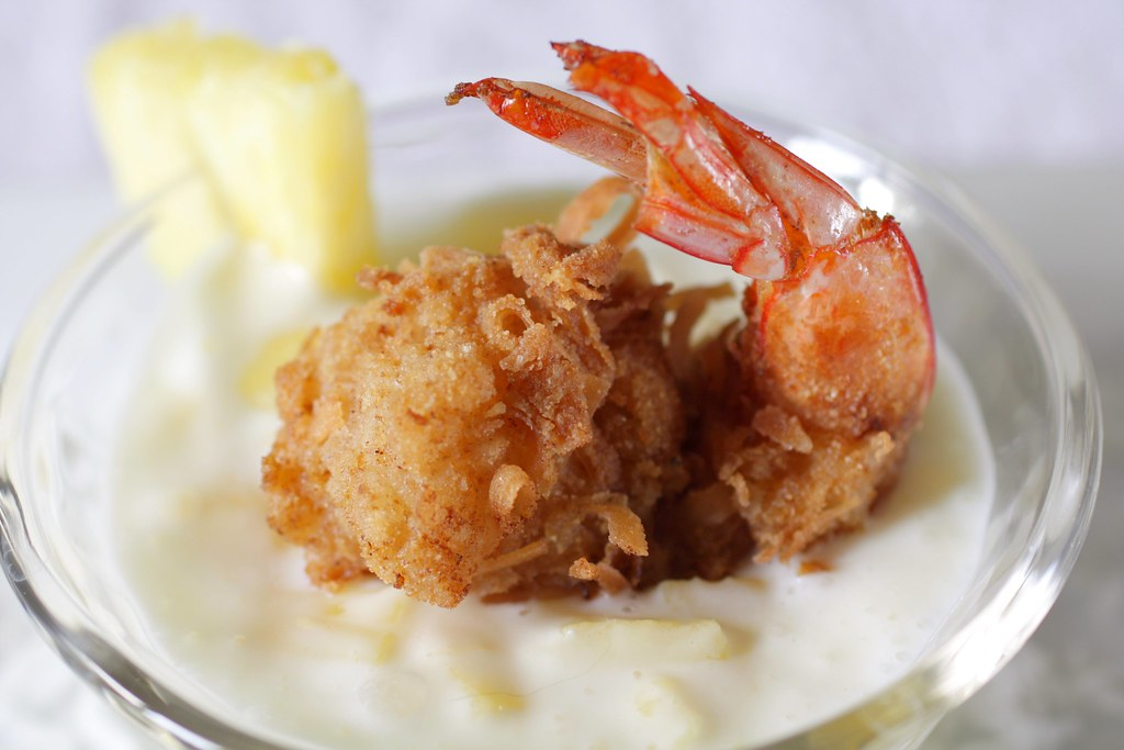coconut shrimp with piña colada sauce