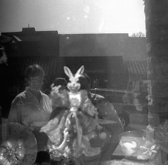 the bunny (Jerry Rushing) Tags: reflections blackwhite funny easterbunny