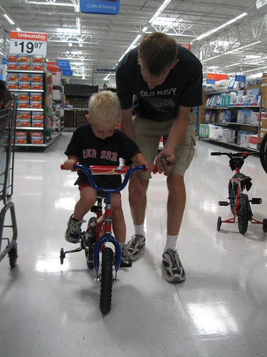Bicycle lessons in Walmart