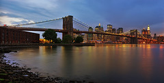 New York - Brooklyn Bridge Panorama (Philipp Klinger Photography) Tags: new york city nyc newyorkcity bridge blue light red sky panorama orange usa ny newyork storm color colour tree nature water lines yellow rock skyline broo