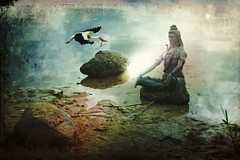 Shiva Meditation (Mara ~earth light~) Tags: sea inspiration reflection nature photoshop stones gimp creativecommons meditation shiva brava stork intuition magicalmoments callingallangels soulscapes artdigital fineartphotos spiritulity innamoramento flickrswarmlighting artistictreasurechest graphicmaster daarklands mara~earthlight~ extraordinairyvsimpressive untouchabledream healinglightofthespirit